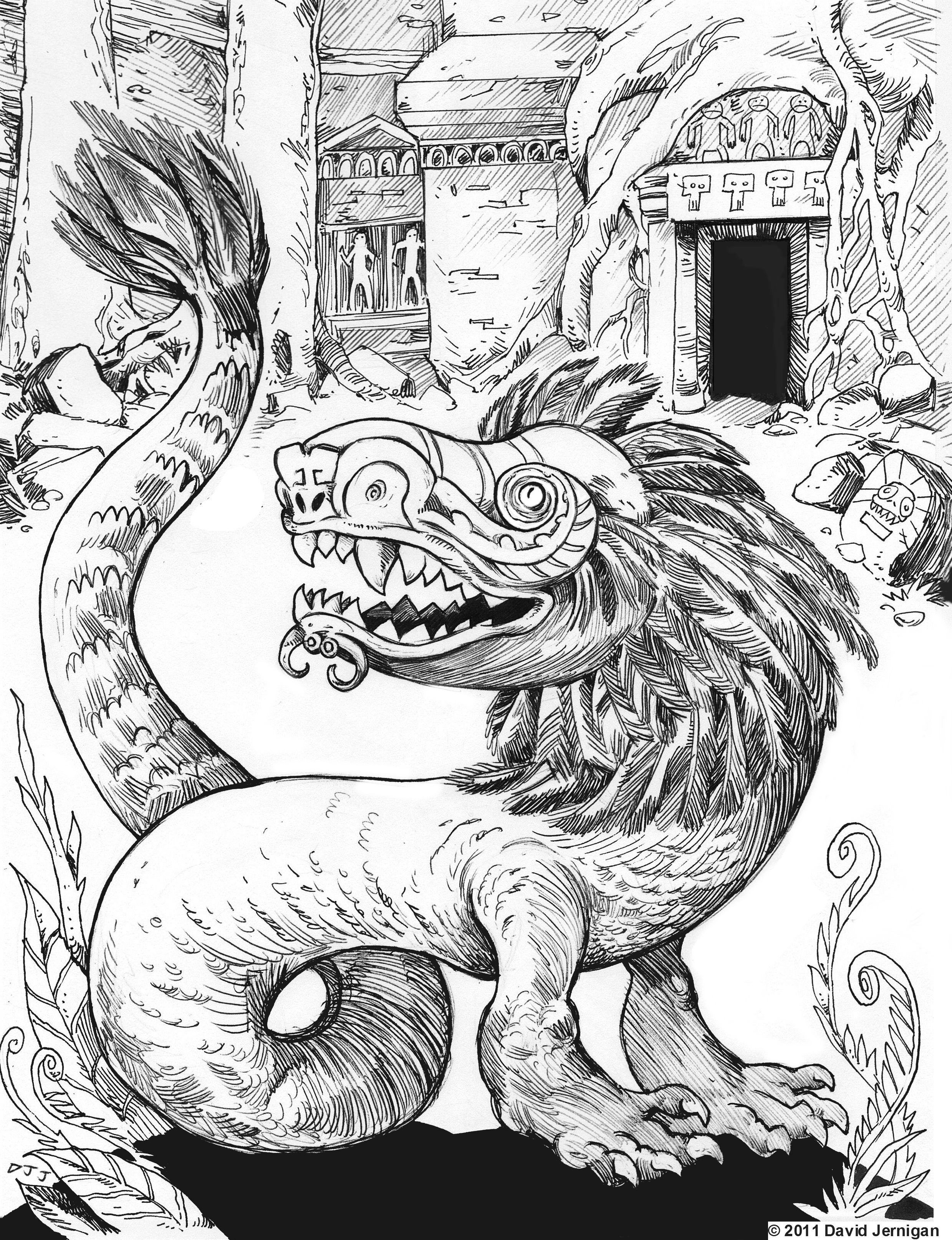 Feathered Serpent Drawing Sketcharound