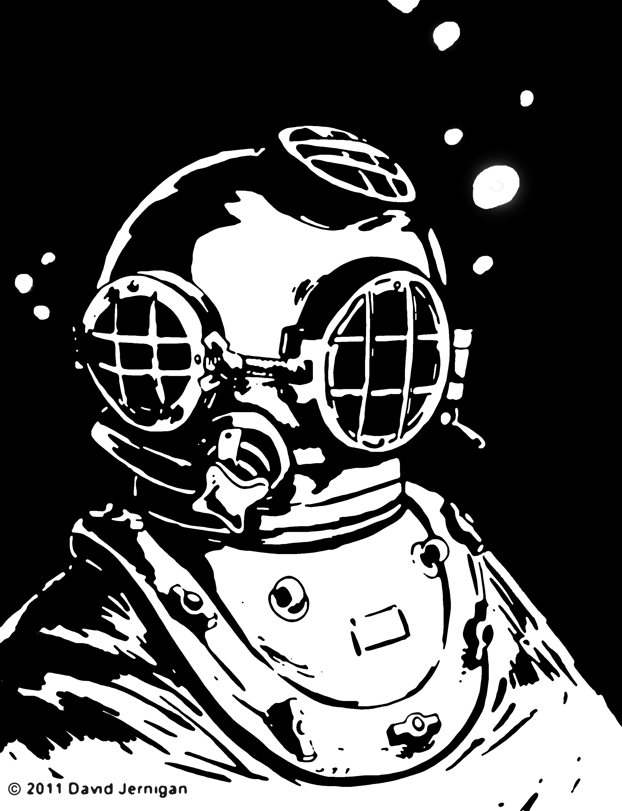sketch of an old diving suit helmet illustrations by david