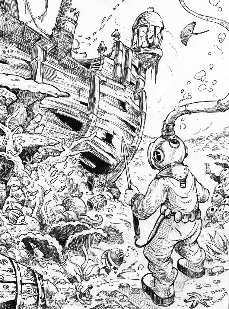 sunken ship drawing sketcharound