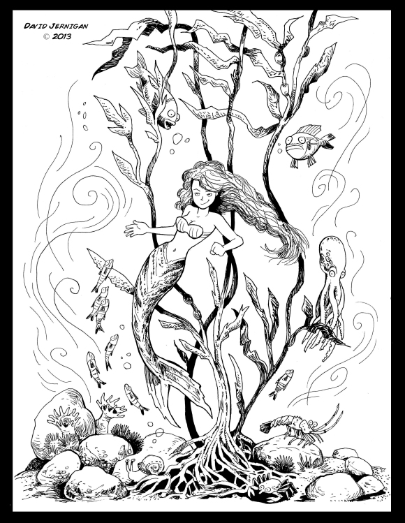 Mermaid in a kelp forest copy
