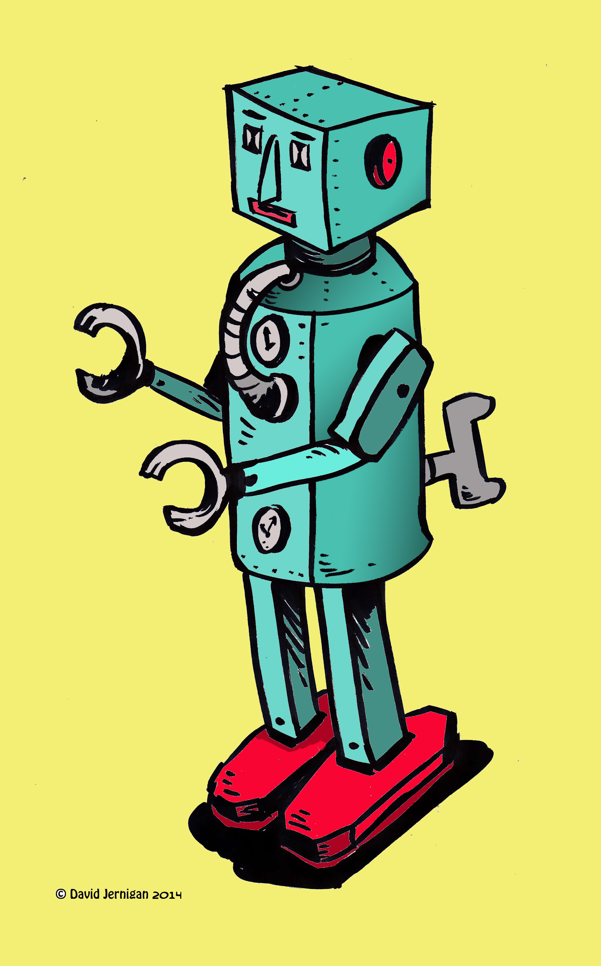 Retro Robot Drawing Sketcharound