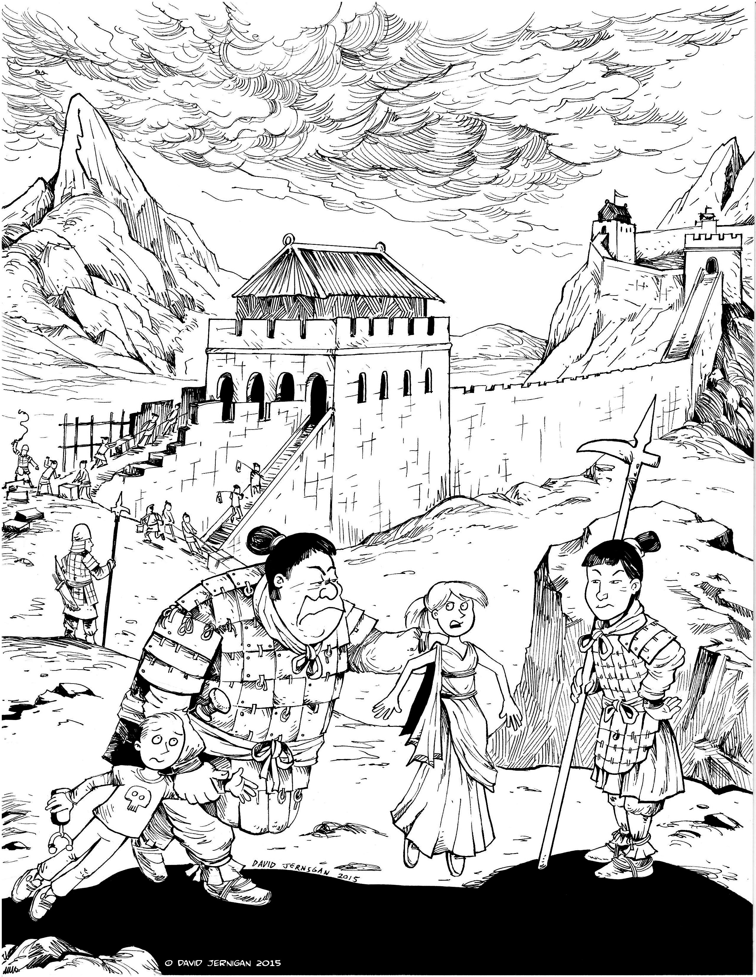 Coloring sheet great wall of china - Clip Art Great Wall Of China Coloring Page Sketch Blog Sketcharound Page 3 Great Wall Of