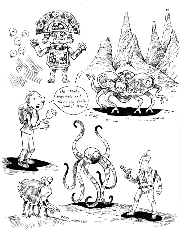 Sketchbookpagewithcreatures