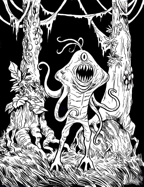 Alien Monster Pen And Ink Sketcharound