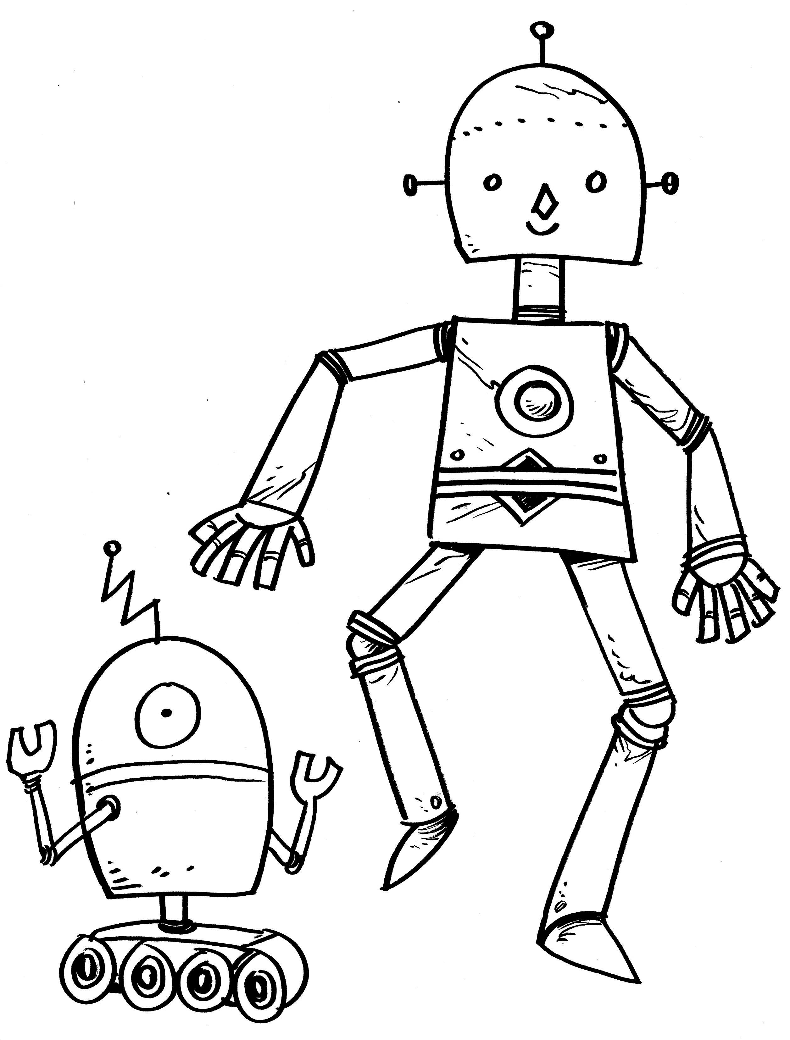 Картинки роботов рисовать